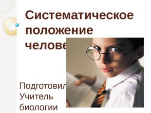 Систематическое положение человека Подготовила Учитель биологии МОУ «Лицей №5