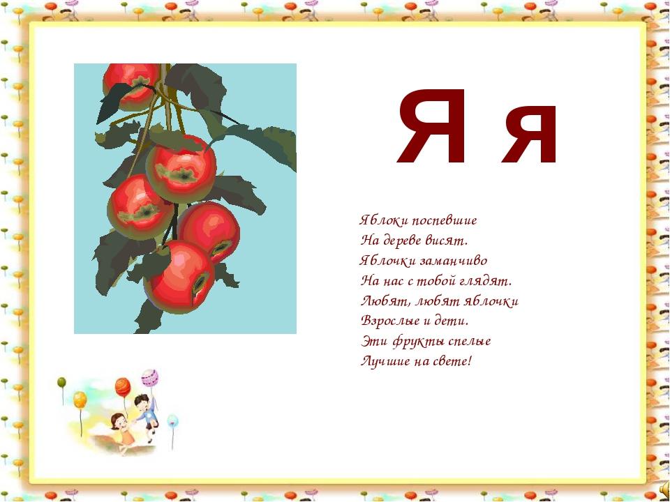 Я я Яблоки поспевшие На дереве висят. Яблочки заманчиво На нас с тобой глядят...