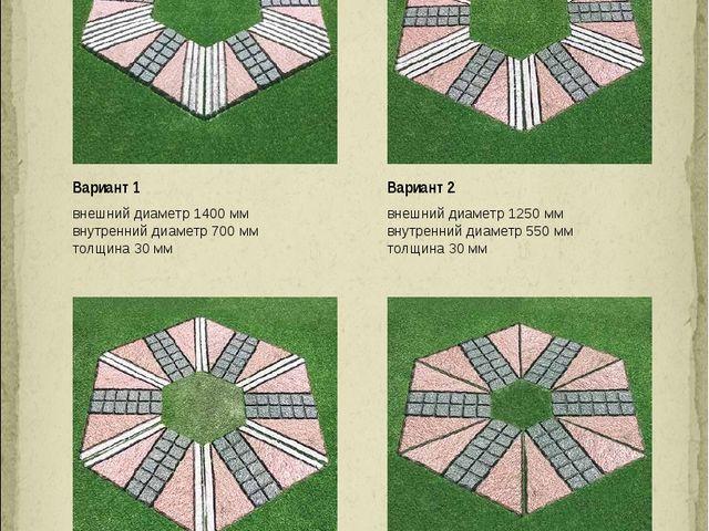 ВАРИАНТЫ ШЕСТИГРАННИКОВ Вариант 1 внешний диаметр 1400 мм внутренний диаметр...