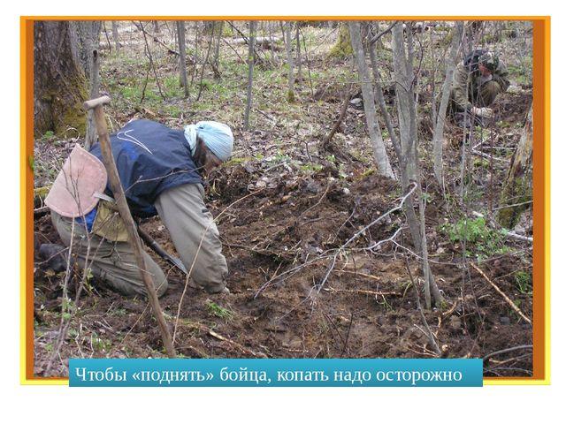 Чтобы «поднять» бойца, копать надо осторожно