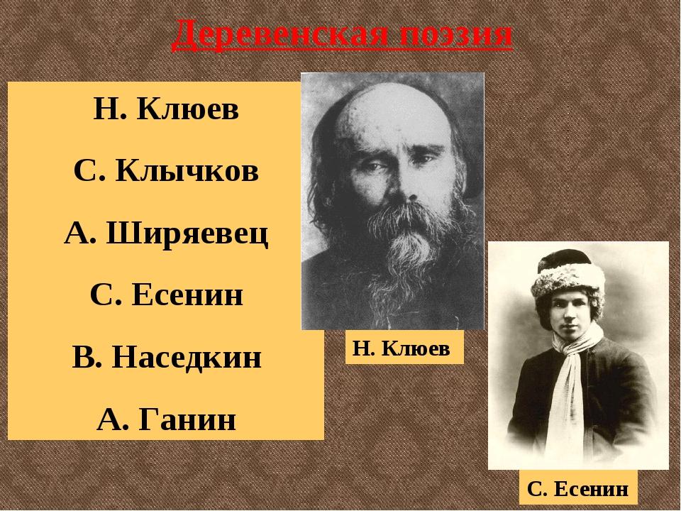 Деревенская поэзия Н. Клюев С. Клычков А. Ширяевец С. Есенин В. Наседкин А. Г...