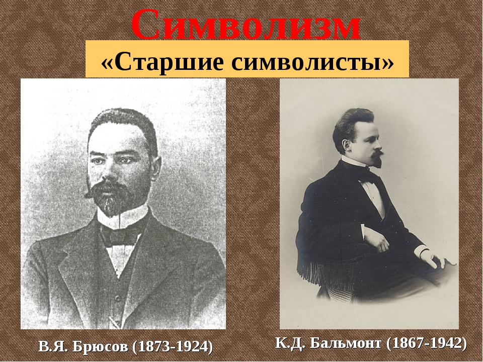 Символизм «Старшие символисты» В.Я. Брюсов (1873-1924) К.Д. Бальмонт (1867-19...