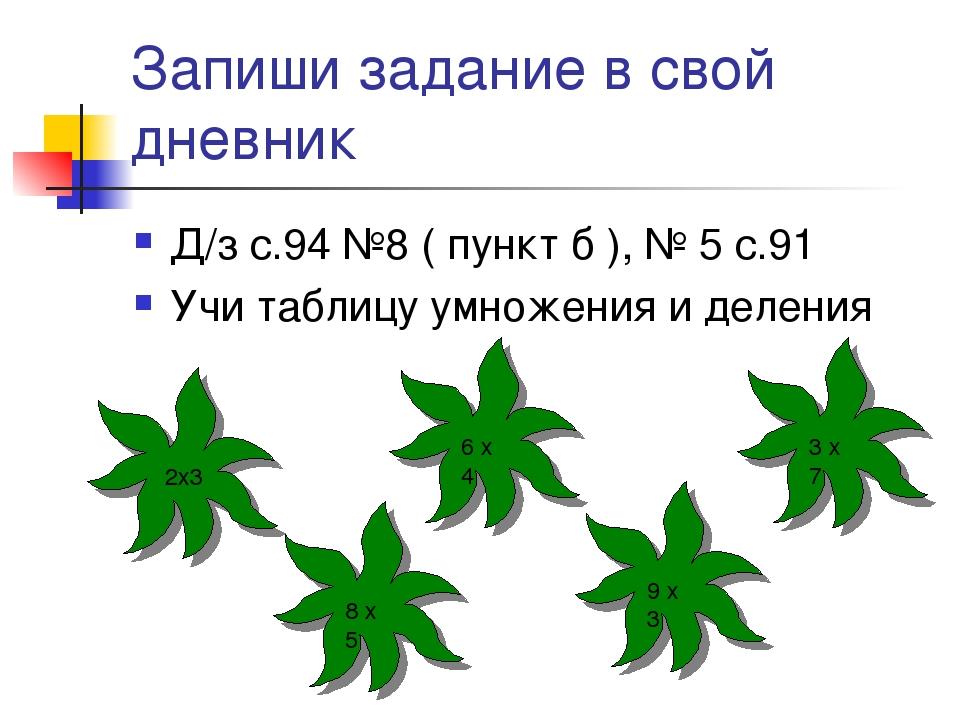Запиши задание в свой дневник Д/з с.94 №8 ( пункт б ), № 5 с.91 Учи таблицу у...