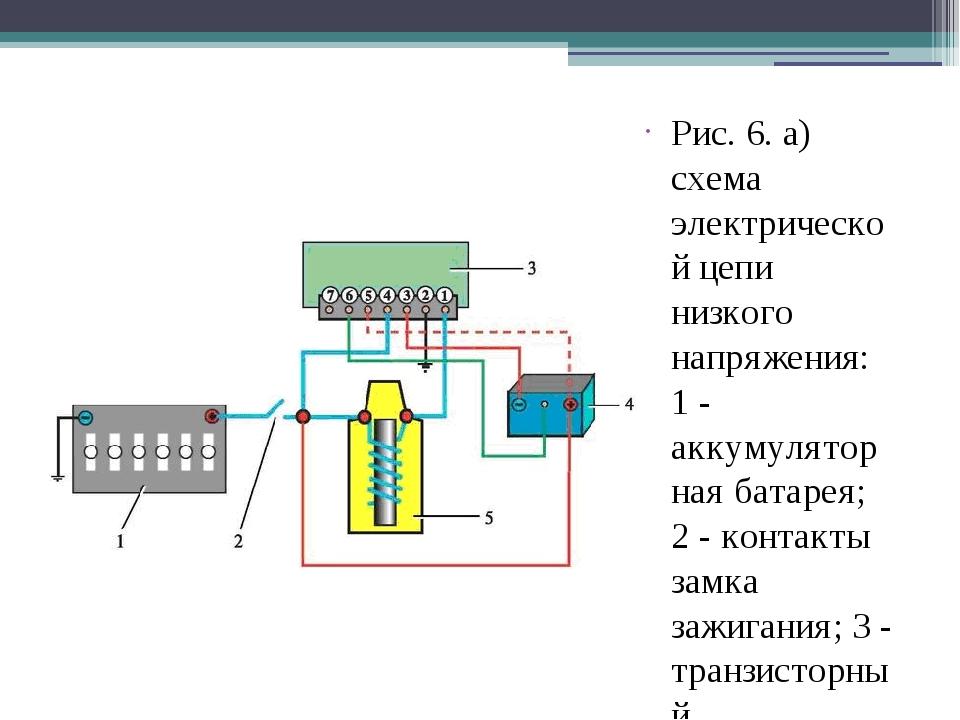 Рис. 6. а) схема электрической цепи низкого напряжения: 1 - аккумуляторная ба...