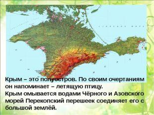 Крым – это полуостров. По своим очертаниям он напоминает – летящую птицу. Кры