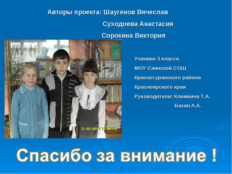 Авторы проекта: Шаугенов Вячеслав Суходоева Анастасия Сорокина Виктория Учени...