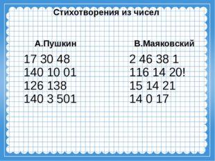 Стихотворения из чисел А.Пушкин 17 30 48 140 10 01 126138 140 3501 В.Маяков