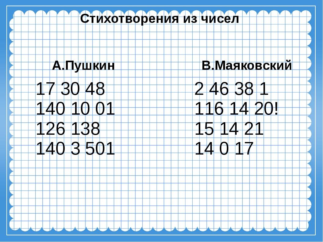 Стихотворения из чисел А.Пушкин 17 30 48 140 10 01 126138 140 3501 В.Маяков...