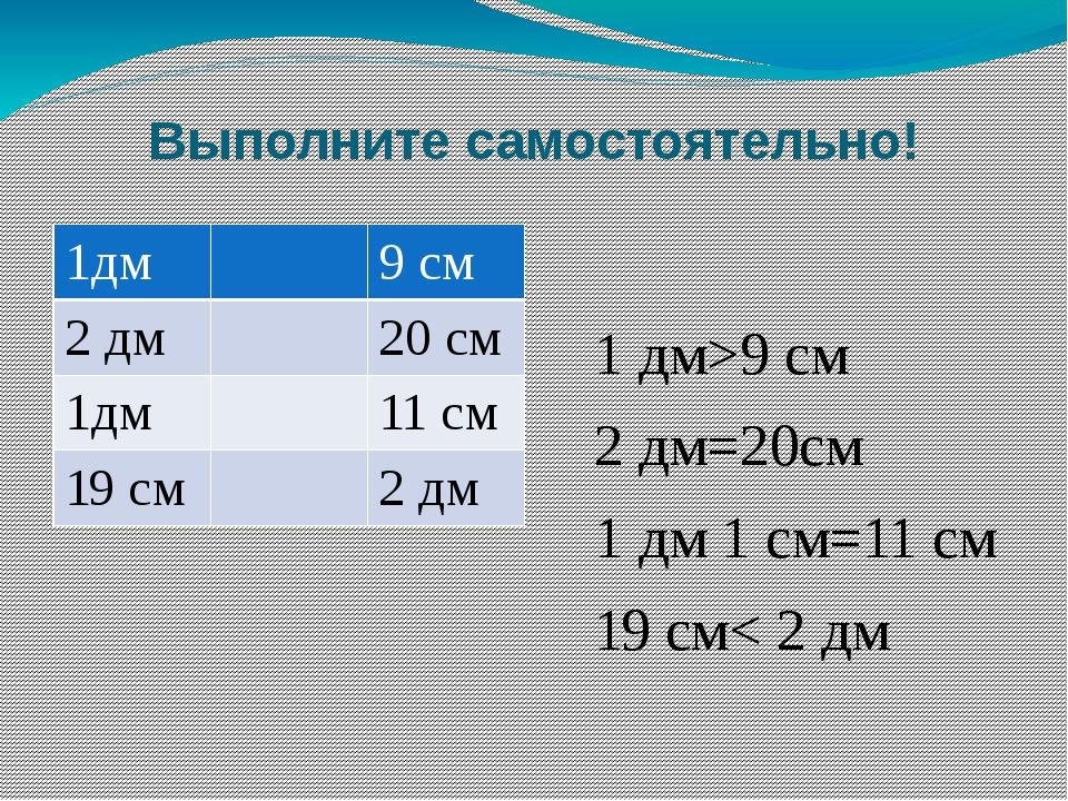 Выполните самостоятельно! 1 дм>9 см 2 дм=20см 1 дм 1 см=11 см 19 см< 2 дм 1дм...