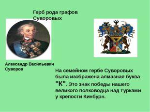 Герб рода графов Суворовых Александр Васильевич Суворов На семейном гербе Сув