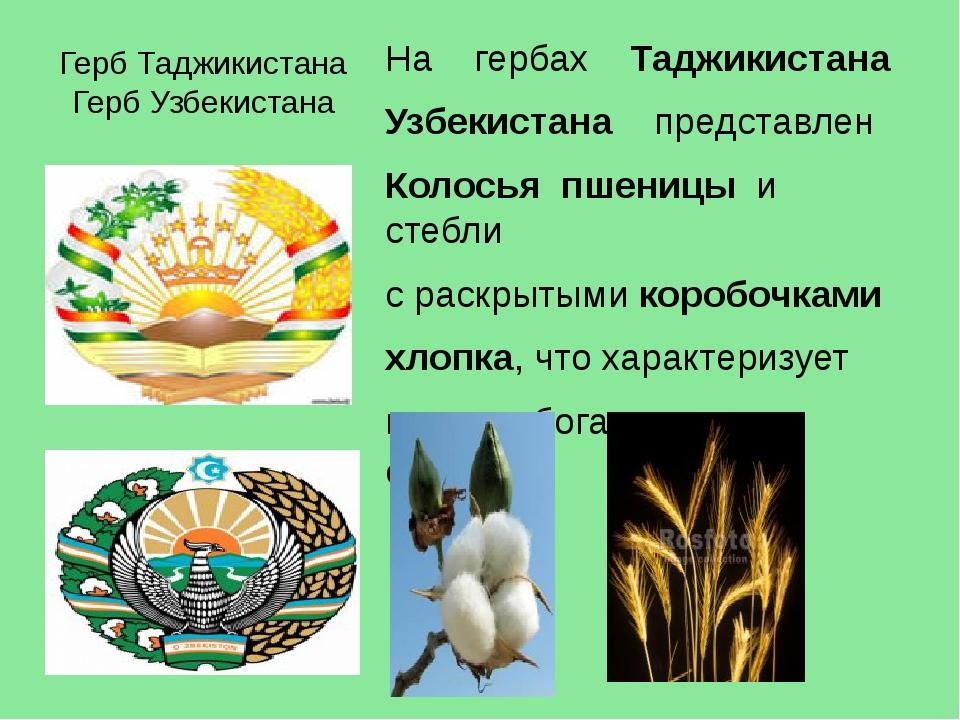 Герб Таджикистана Герб Узбекистана На гербах Таджикистана Узбекистана  пре...