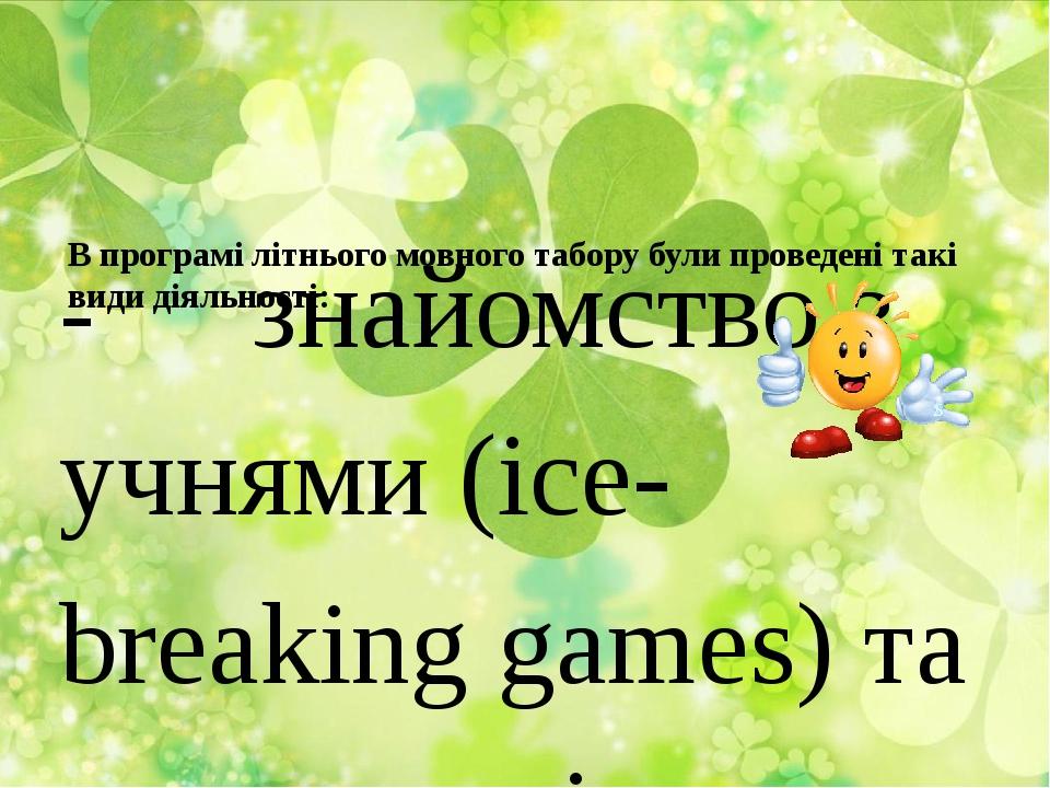 В програмі літнього мовного табору були проведені такі види діяльності: - зн...