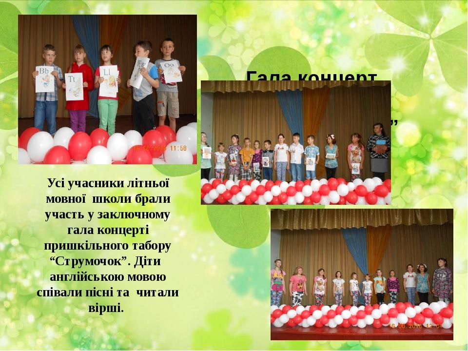 """Гала концерт """"Таборе, до побачення"""" Усі учасники літньої мовної школи брали..."""