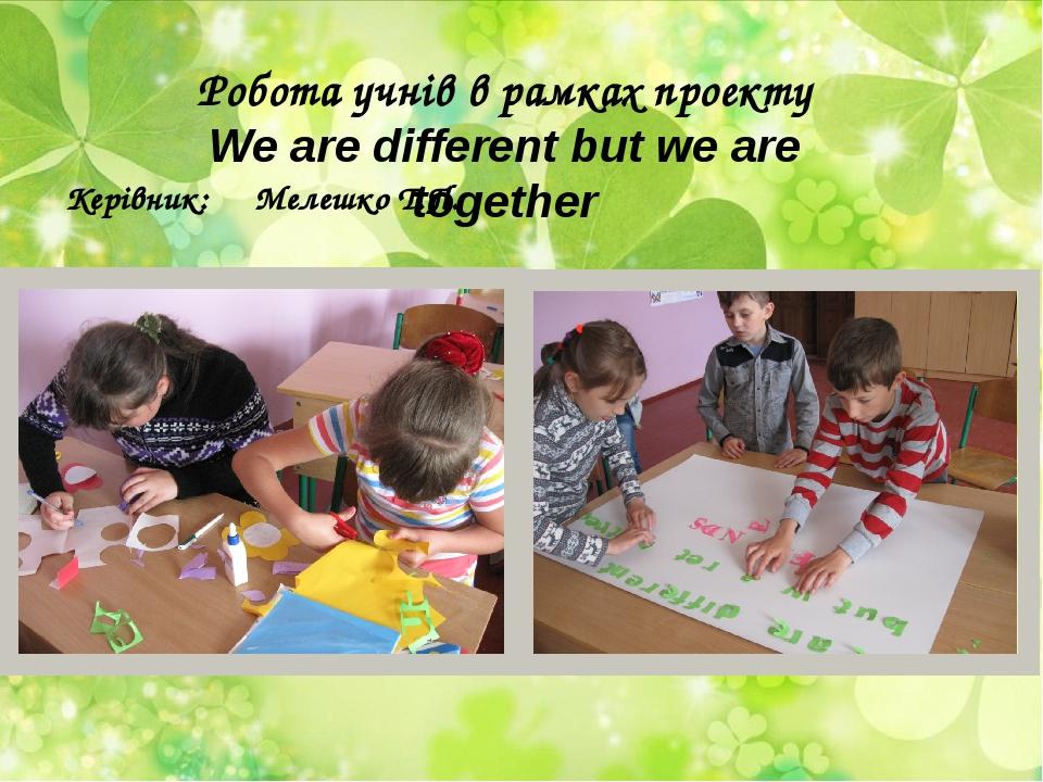 Робота учнів в рамках проекту We are different but we are together Керівник:...