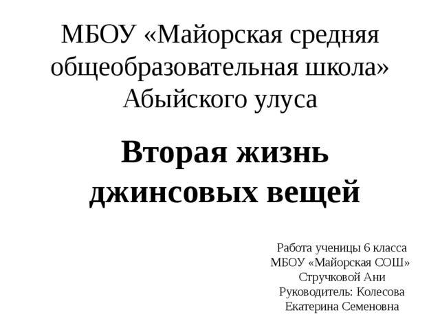 Вторая жизнь джинсовых вещей МБОУ «Майорская средняя общеобразовательная школ...