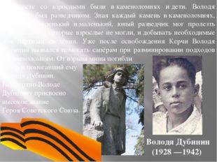 Володя Дубинин (1928 —1942) Вместе со взрослыми были вкаменоломнях идети.