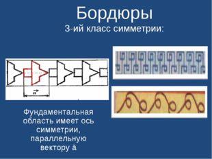 Бордюры 3-ий класс симметрии: Фундаментальная область имеет ось симметрии, п