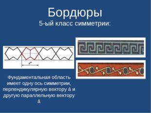 Бордюры 5-ый класс симметрии: Фундаментальная область имеет одну ось симметр