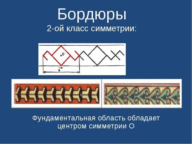 Бордюры 2-ой класс симметрии: Фундаментальная область обладает центром симме...
