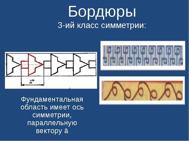 Бордюры 3-ий класс симметрии: Фундаментальная область имеет ось симметрии, п...