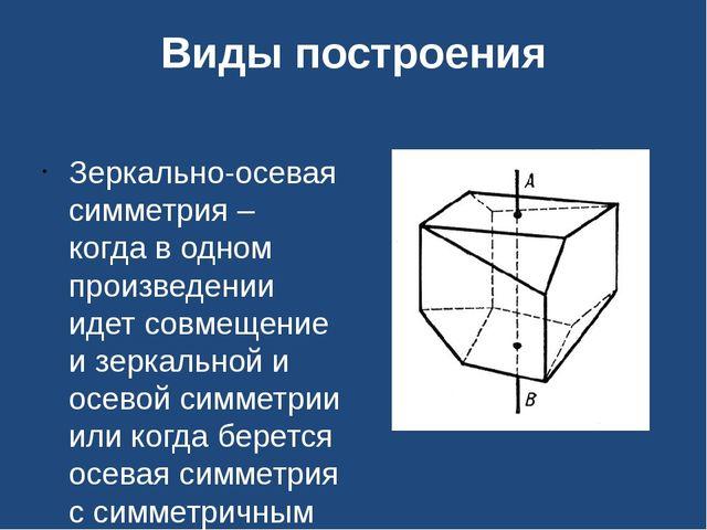 Виды построения Зеркально-осевая симметрия – когда в одном произведении идет...