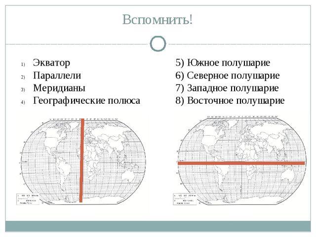 Вспомнить! Экватор Параллели Меридианы Географические полюса 5) Южное полушар...
