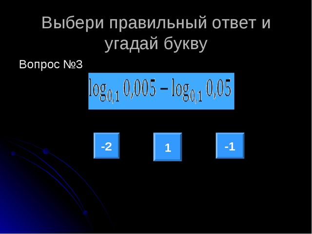 Выбери правильный ответ и угадай букву Вопрос №3 -2 -1 1
