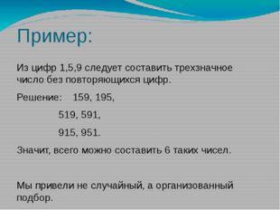 Пример: Из цифр 1,5,9 следует составить трехзначное число без повторяющихся ц
