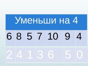 Уменьшина 4 6 8 5 7 10 9 4 2 4 1 3 6 5 0