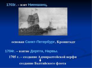 1703г. – взят Ниеншанц, 1704г. – взятие Дерпта, Нарвы. основан Санкт-Петербур