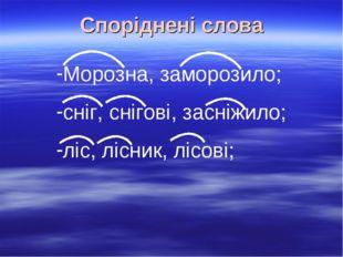 Споріднені слова Морозна, заморозило; сніг, снігові, засніжило; ліс, лісник,