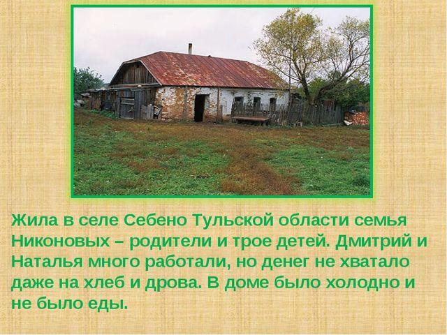 Жила в селе Себено Тульской области семья Никоновых – родители и трое детей....