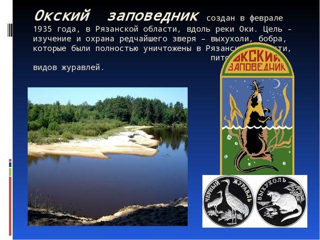 Окский заповедник создан в феврале 1935 года, в Рязанской области, вдоль реки...