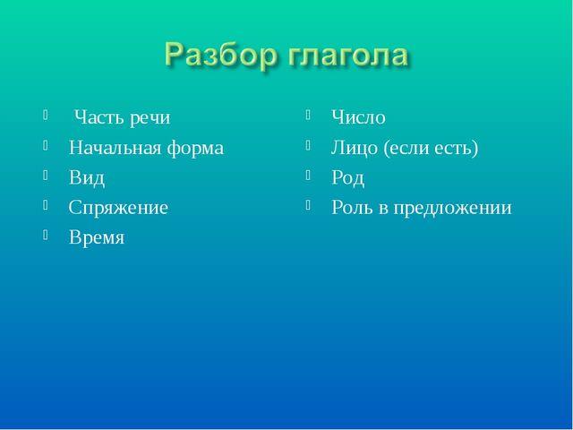 Часть речи Начальная форма Вид Спряжение Время Число Лицо (если есть) Род Ро...