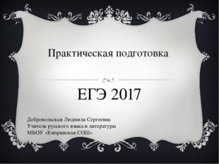 Практическая подготовка ЕГЭ 2017 Добровольская Людмила Сергеевна Учитель русс