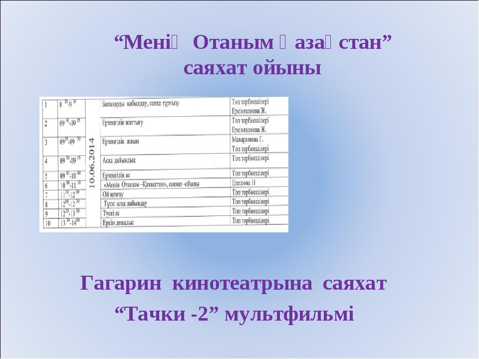 "Гагарин кинотеатрына саяхат ""Тачки -2"" мультфильмі ""Менің Отаным Қазақстан"" с..."