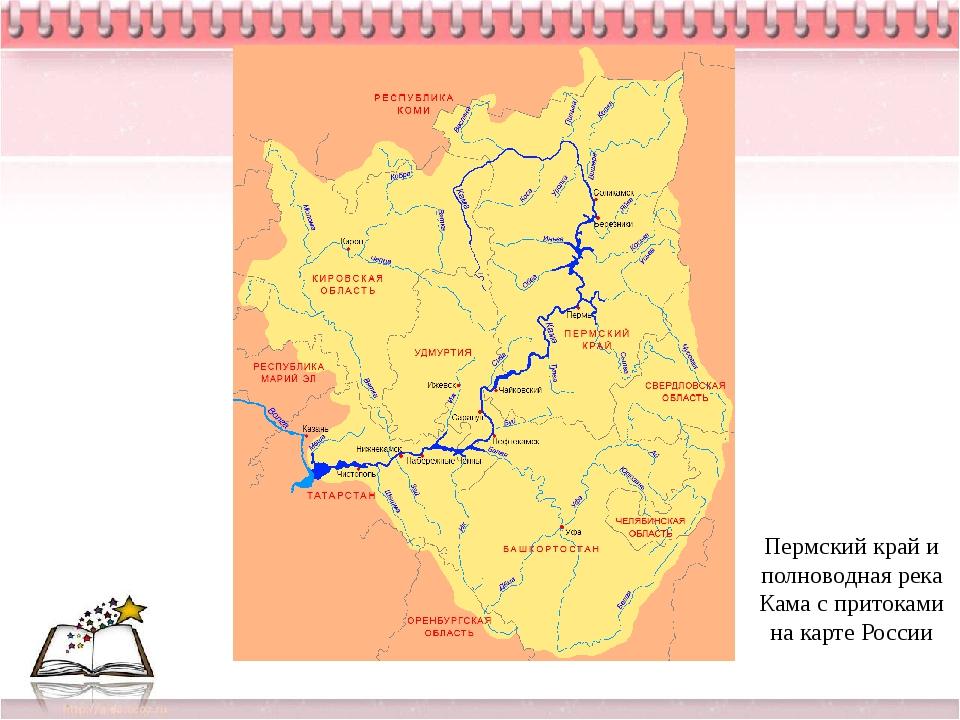 Пермский край и полноводная река Кама с притоками на карте России