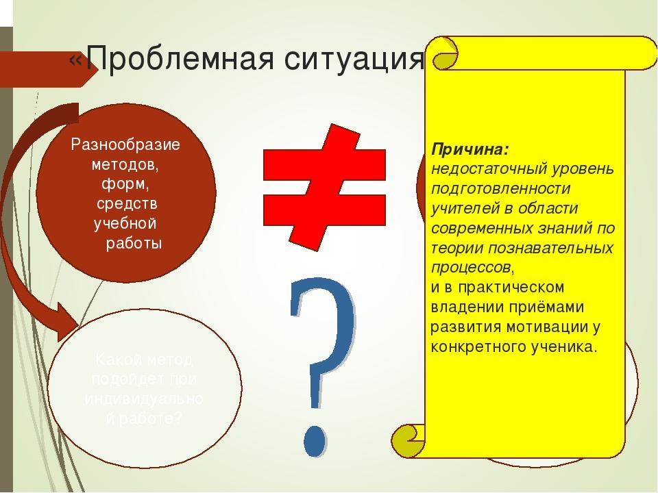 «Проблемная ситуация» Разнообразие методов, форм, средств учебной работы Раз...