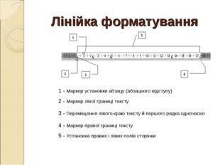 Лінійка форматування 1 - Маркер установки абзацу (абзацного відступу) 2 - Мар