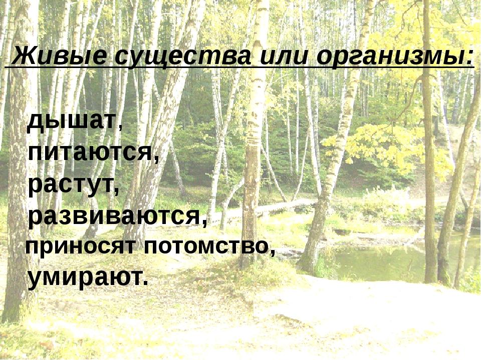Живые существа или организмы: дышат, питаются, растут, развиваются, приносят...
