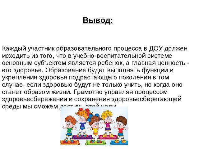 Вывод: Каждый участник образовательного процесса в ДОУ должен исходить из тог...