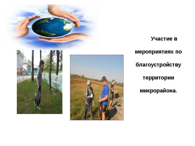 Участие в мероприятиях по благоустройству территории микрорайона.