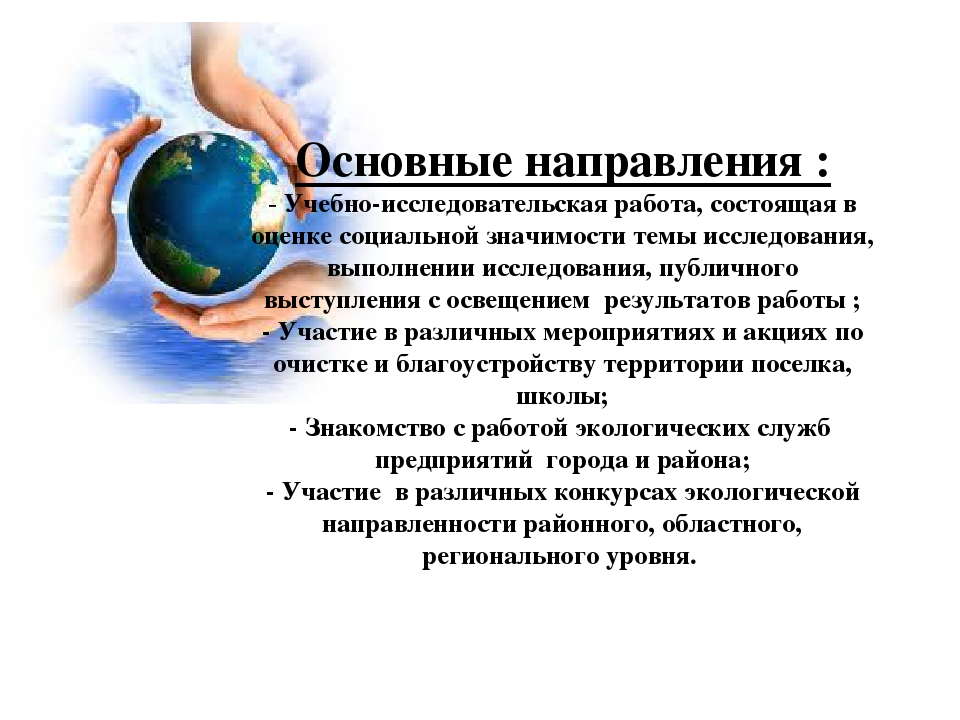 Основные направления : - Учебно-исследовательская работа, состоящая в оценке...