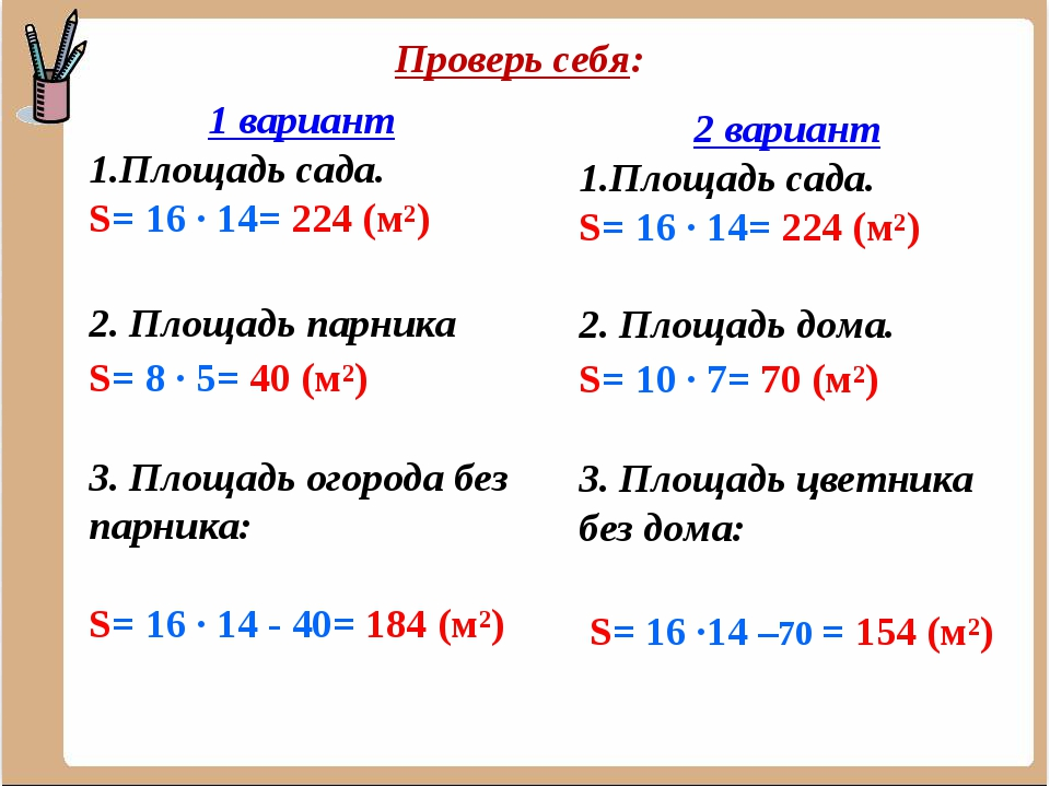 Проверь себя: 1 вариант Площадь сада. S= 16 ∙ 14= 224 (м²) 2. Площадь парника...