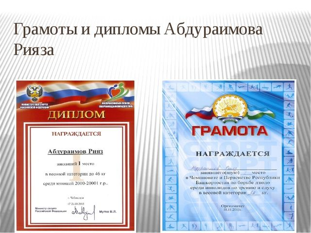Грамоты и дипломы Абдураимова Рияза