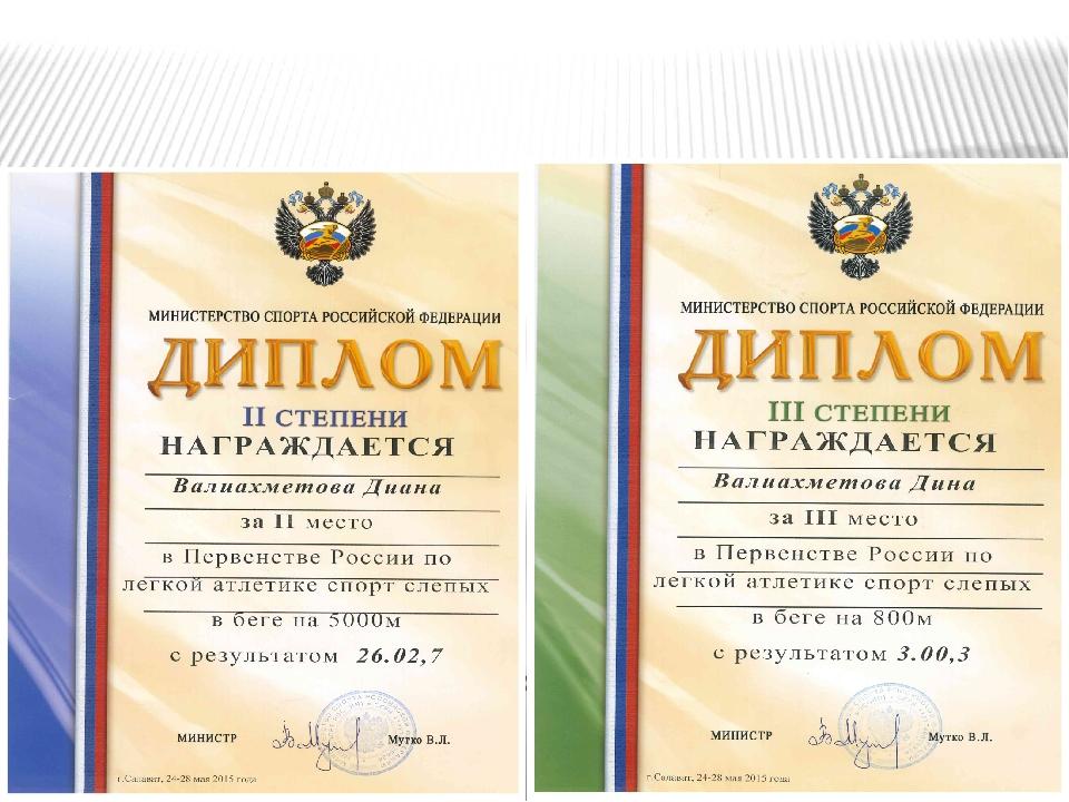 Грамоты и дипломы Валиахметовой Дианы