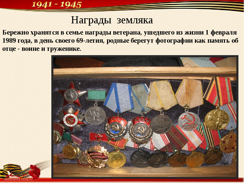 Награды земляка Бережно хранятся в семье награды ветерана, ушедшего из жизни...