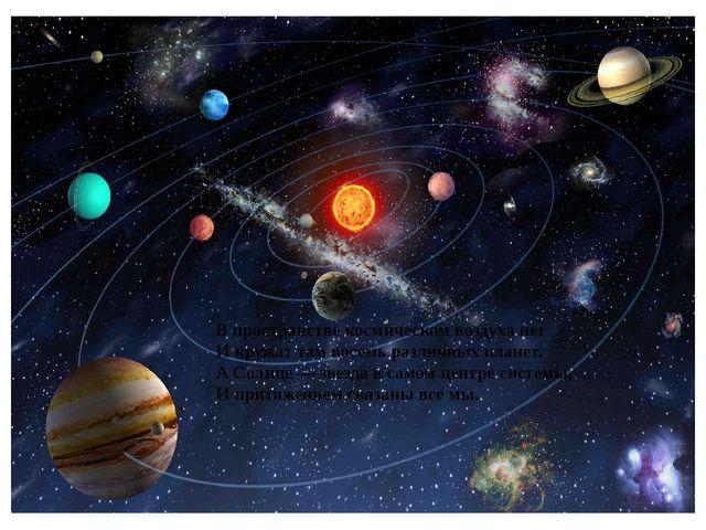 В пространстве космическом воздуха нет И кружат там восемь различных планет....