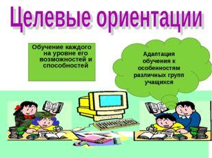 Адаптация обучения к особенностям различных групп учащихся Обучение каждого н