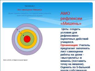 АМО рефлексии «Мишень» Цель: создать условия для рефлексивно-оценочных действ
